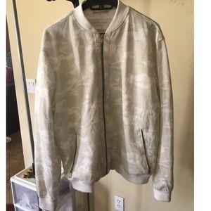 White/Cream/Beige Camo Light Letterman Jacket